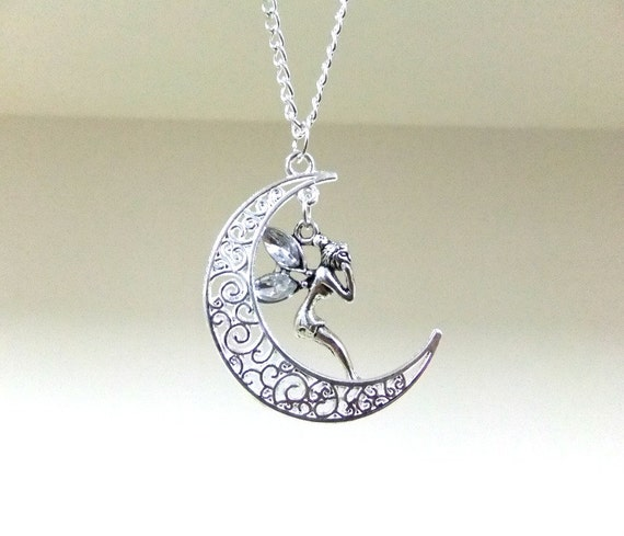 silver moon and necklace crescent moon necklace faerie