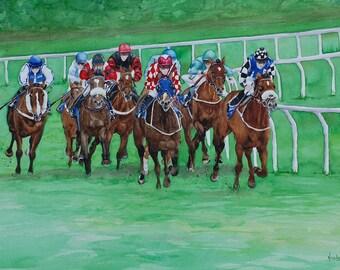 "Original Watercolour painting, Horse Racing painting , Large Painting, Home Decor 27.5"" x19.5"" Horse Painting, Animal Painting, Horse lovers"