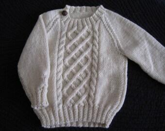 Basic Aran 100% Wool Toddler Irish Knit Sweater