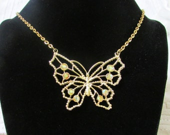 Vintage AB rhinestone butterfly necklace wedding prom bridal Easter