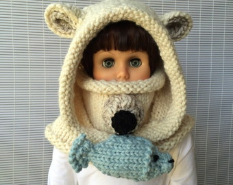 Knitting patterns * Polar Bear Hooded Cowl * Instant download Pattern #478 * baby toddler child teen adult * bulky * fast and easy