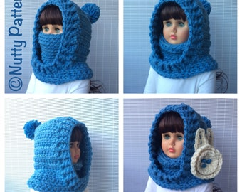 Crochet Patterns * Boston Hooded Cowl * Instant Download Pattern # 483 * baby toddler child teen adult sizes * super bulky yarn * easy