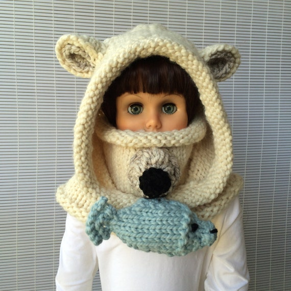 Knitting patterns Polar Bear Hooded Cowl Instant download
