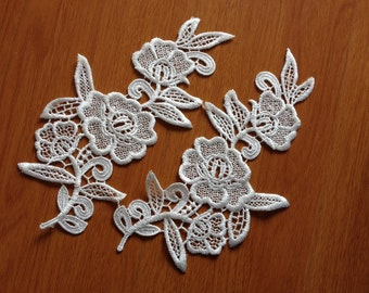Sell By Mirror Pair Off White Flower Lace Trim, Venise Lace Applique, Floral Lace Applique, Venice Lace Applique