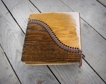 Unique handmade wedding photo album with leather stitched wooden covers / ready to ship