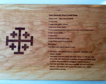 GRANDMOTHERS HANDWRITTEN RECIPE Custom Laser Engraved  Recipe Cutting Board Mothers Recipe Cutting Board
