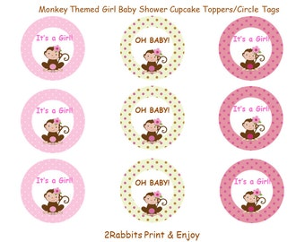 Monkey Girl Baby Shower Cupcake Toppers- Monkey Be Girl Gift Tags- Instant Download- Pink Polka Dots - Monkey Girl with a Flower