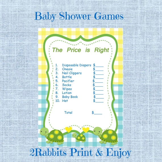 turtle themed boy baby shower the price is right printable baby
