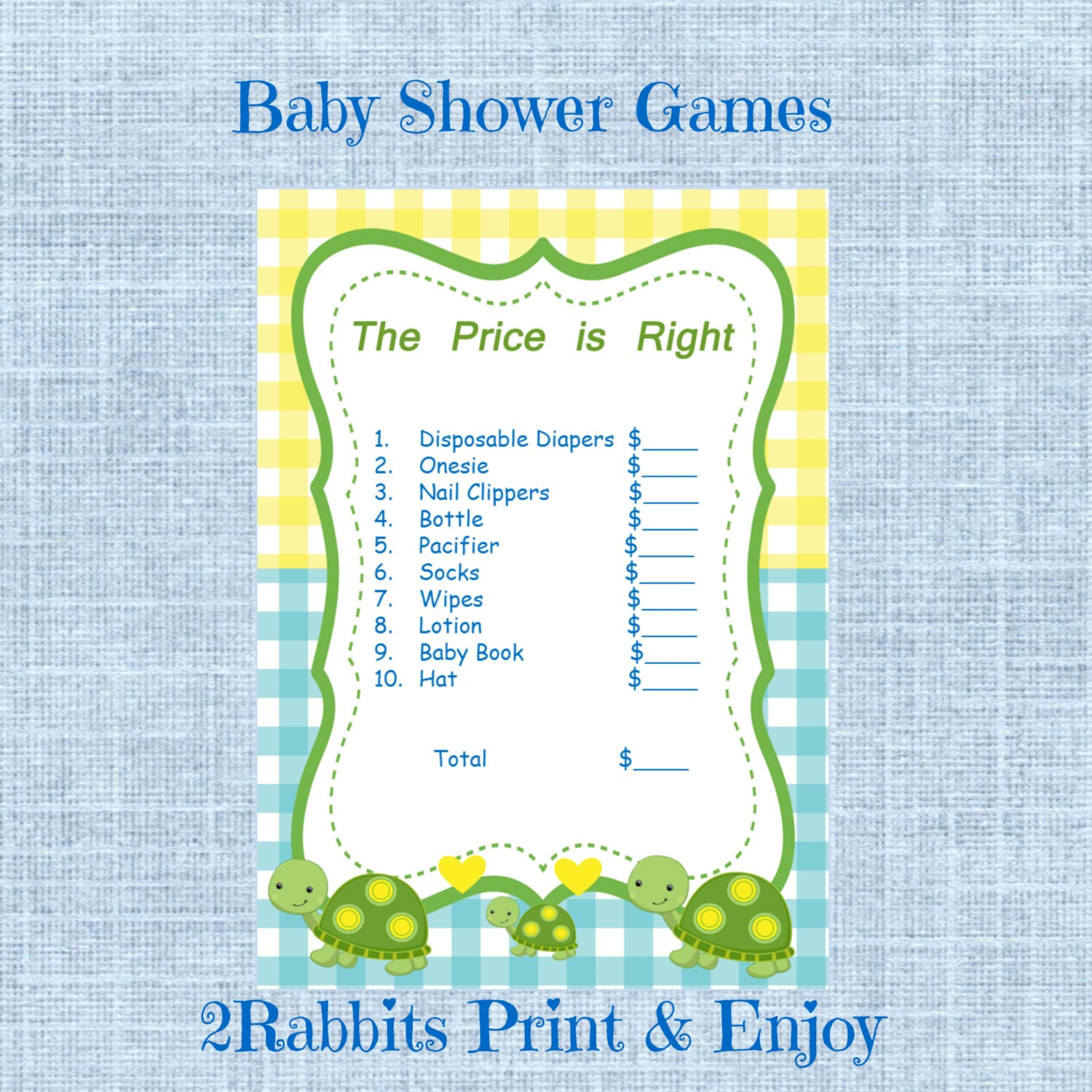turtle themed boy baby shower the price is right printable
