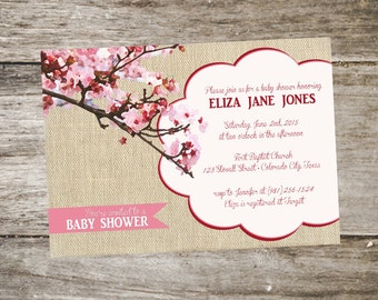 Cherry Blossom Baby Shower Invitation • Modern Baby Shower Invitation • Pink Cherry Blossom Tree Print 5x7