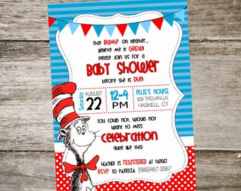 Cat in the Hat Baby Shower Invitation • Dr. Seuss Baby Shower Invitation • Baby Shower