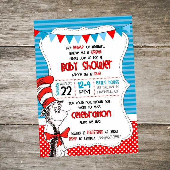 cat in the hat baby shower invitation dr seuss baby shower