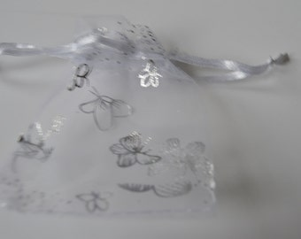 20 White Butterfly Organza Drawstring Pouches