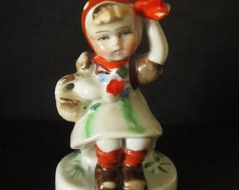 Vintage Occupied Japan Figurine - Sitting Girl with Basket
