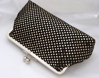 Gold Sparkle Clutch Bag / Purse / Handbag in Gold and Black Design