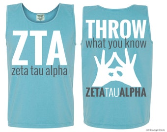 ZTA Zeta Tau Alpha Throw Tank