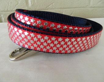 Mini Foil Stars on Red Patriotic Dog Leash