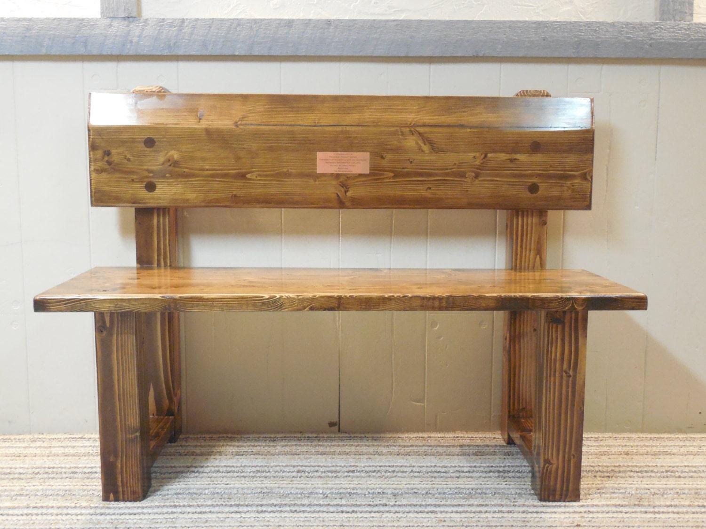 rustic bench with back by cancerkiller on etsy. Black Bedroom Furniture Sets. Home Design Ideas