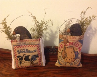 Feedsack Pouch and Crow