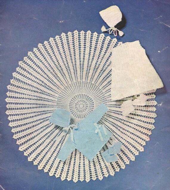 circular baby shawl vintage crochet pattern PDF instant