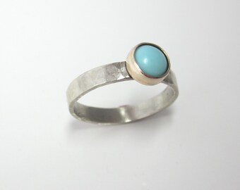 Turquoise and Gold Ring| Recycled Palladium White Gold and Yellow Gold| Boho Southwestern Contemporary Ethical Eco Friendly
