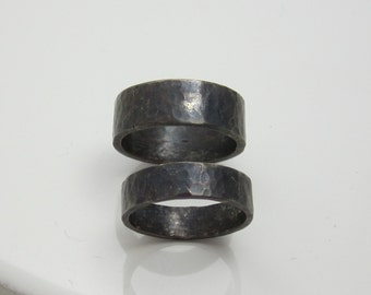 Recycled Sterling Silver Wedding or Commitment Rings for Him and Her Wide Oxidized Hammered Bands Ethical Eco Friendly