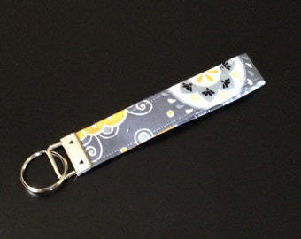 Yellow and Grey Fabric Key Fob