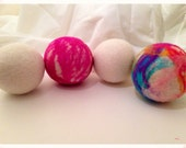 """2 """"Bath Bomb"""" Inspired & 2 Natural Colored 100% Wool Dryer Balls"""