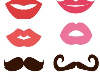 DIY Printable Mustache and Lips Set.