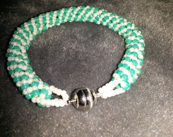 """Aqua and Pearl Russian Spiral Bracelet high quality seed beads with silver plated magnetic clasp, 7 1/2"""" for medium wrist"""