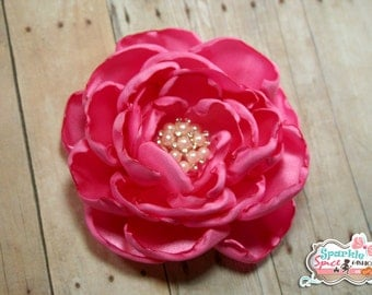 Large Hot Pink Layered Satin Flower Hair Clip, YOU CHOOSE Center Option, Hot Pink Flower Fascinator, Hot Pink Rose, Baby-Bridesmaid
