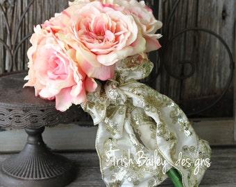 Vintage Dusty Rose Wedding Bouquet