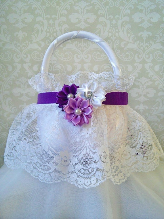 How To Make A Lace Flower Girl Basket : White lace flower girl baskets purple and
