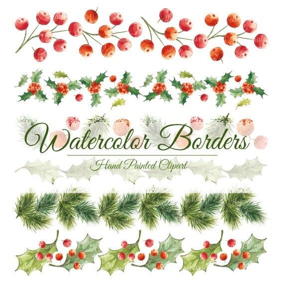 christmas watercolor watercolor borders hand painted borders christmas borders
