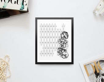 Geometric Triangles & Roses Print