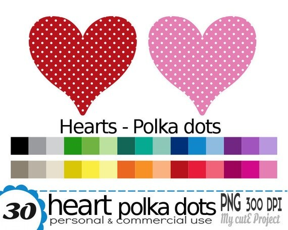 Heart Polka Dots Clipart 30 Colors 30 PNG Files 300