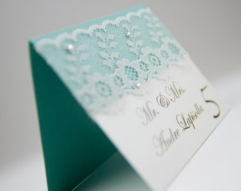 Lace place cards, Blue place cards, wedding place seatings, Seating cards, crystal place cards