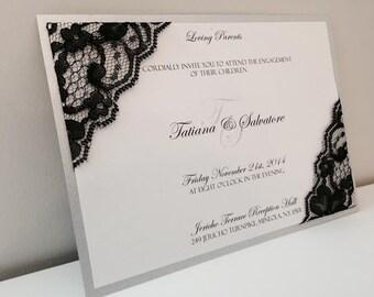 Lace invitations, Silver invitation, Black invitations, Romantic invitations, Elegant invitations, Formal invitations, Boudoir invitations