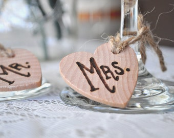 Mr. Mrs. Wedding Wine Charms Wooden Heart Wine Charms Wood Drink Tags Jute Twine Wood Burned Engraved Wedding Charms