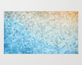 Bath Mat -  Mosaic Sunny Day yellow blue colorful, vibrant, rubber backed, Plush mat