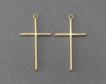 Cross Brass Pendant . Jewelry Craft Supply . 16K Matte Gold Plated over Brass / 2 Pcs - FC117-MG