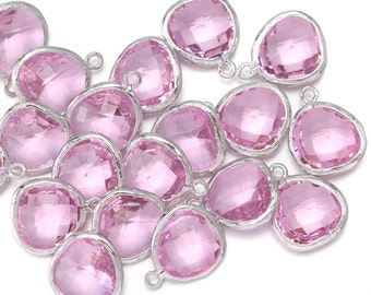 10% OFF (10 Pieces) . Pink Glass Pendant .  Wholesale Jewelry Supply . Polished Original Rhodium Plated over Brass - AG001-PR-PK