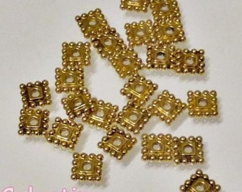 50 x Antique Gold Square Spacer Beads - Lf CF NF - 7mm x 7mm - SP17
