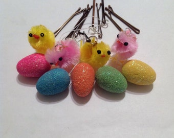 Beard Art Baubles Easter Eggs and Chicks Hipster Gift Set of 9 Five Colored Eggs and Four Chicks Ultra Mini Pins