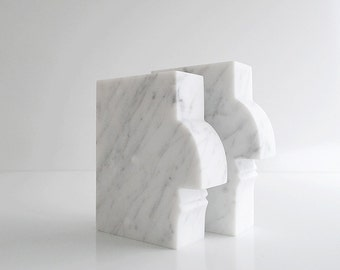 Sculpture Bookends White Marble Bookends Elegant White Sculpture Original Art Bookends Contemporary Bookend Unique Sculpture Handcarved Gift