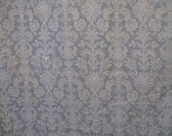 Vintage Shower Curtain Cotton Fleur de Lis Soft Blue/Gray and White