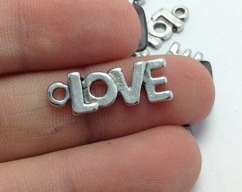 BULK 50 Love Word Charms, Valentines Day Charms, Silver Love Charms, Bulk Charms (5-1153)