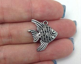 BULK 30 Fish Charms, Silver Fish Charms, Fishing Charms, Nautical Charms, Bulk Charms (5-1042)