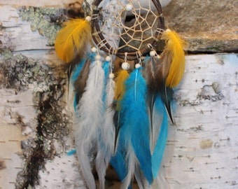 Dreamcatcher with blues and yellows