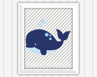 Whale Wall Art, Nautical Wall Art, Nautical Decor, Instant Download, Childrens Wall Art, Kids Wall Art, Nursery Wall Art, DIY Wall Art